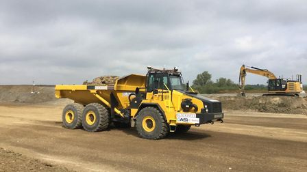 A14 autonomous dump trunk in action on site. Picture: HIGHWAYS ENGLAND