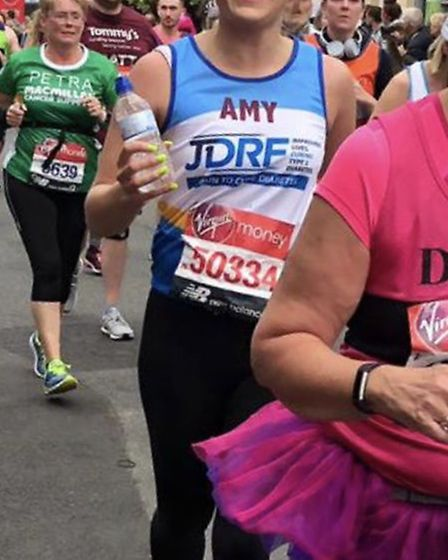 Amy Cooper ran the marathon for JDRF. Picture: Courtesy of Amy Cooper
