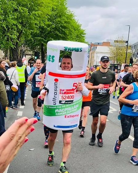 James Lovelace was all smiles during Sunday's London Marathon. Picture: Sonny Dosanjh