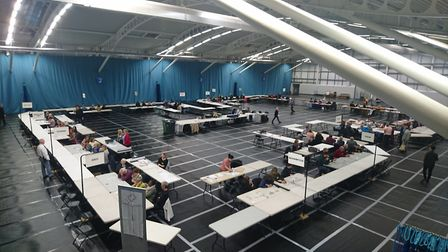 The St Albans district council count at Batchwood Sports Centre. Picture: Anne Suslak