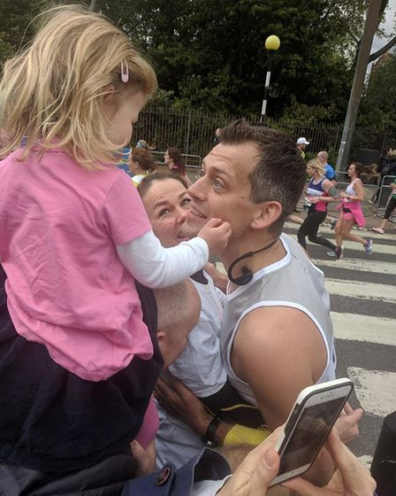 Chris Steele with his wife Jo and daughter Isobel. Picture: Submitted by Chris Steele