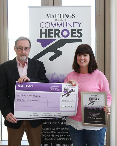 Maltings Centre manager Phil Corrigan with April winner Cindy Reay McLean. Picture: DANNY LOO