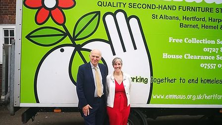 Lib Dem leader Vince Cable visited Emmaus in St Albans with prospective parliamentary candidate Dais