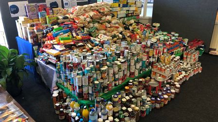 Nearly one and a half tonnes of food for local food banks, collected by pupils at St Columba's Colle