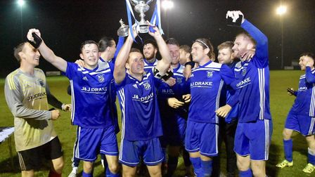 Godmanchester Rovers lift the Hinchingbrooke Cup. Picture: JAMES RICHARDSON
