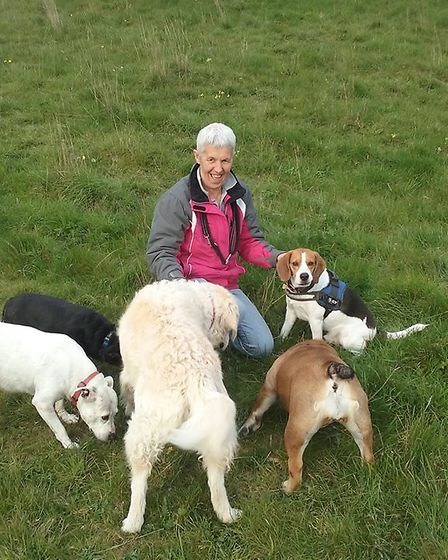 Sharon Stratford, who is part of Jacob's Pound Dogs UK, up on the heath with her beagle and black te