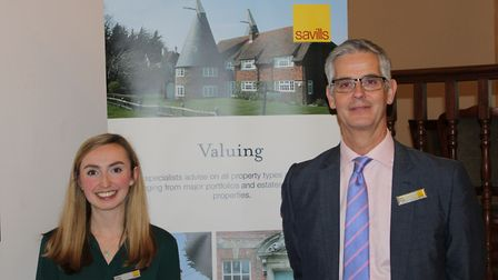Gaby Foord and Nick Ingle from Savills at the Harpenden Home Truths event at Luton Hoo. Picture: Sav