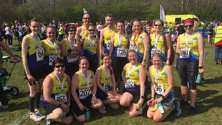 Some of the St Albans Striders contingent at the 2019 St Albans 10K.