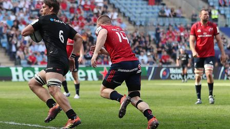 Saracens Michael Rhodes runs in their first try during the European Champions Cup semi final match a