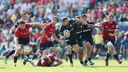 Saracens Alex Goode breaks the Munster defence during the European Champions Cup semi final match at