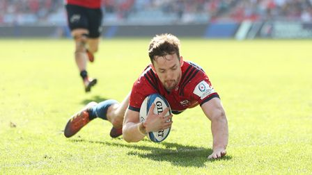 Munster's Darren Sweetnam scores their first try during the European Champions Cup semi final match