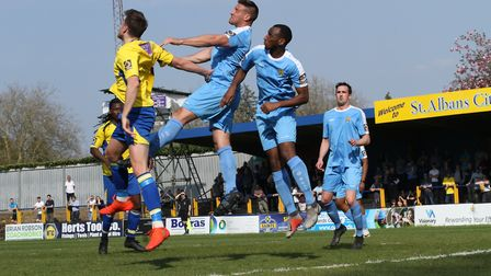 Lewis Knight in action for St Albans City against East Thurrock United. Picture: JIM STANDEN
