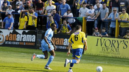 Michael Clark looks for a way past the East Thurrock defence. Picture: LEIGH PAGE