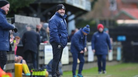 Royston Town FC manager Steve Castle on the touchline in the match between Royston Town v Banbury Un