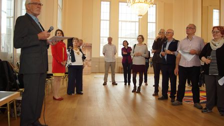 Chamber Choir chairman Ralph Penny at the civic reception at St Albans Museum + Gallery to welcome t