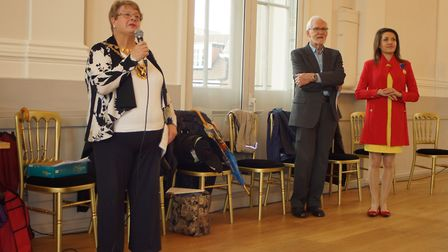 Mayor Cllr Rosemary Farmer at the civic reception at St Albans Museum + Gallery to welcome the Worms