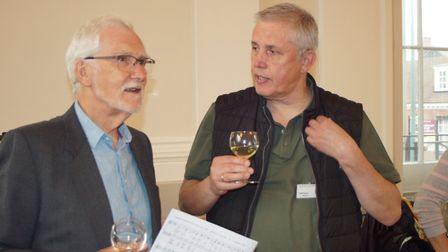 Chamber Choir chairman Ralph Penny (left) at the civic reception at St Albans Museum + Gallery to we