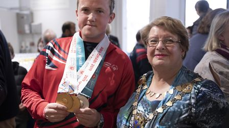 St Albans Mayor Cllr Rosemary Farmer with Special Olympics gold medallist Thomas Miller. Picture: St