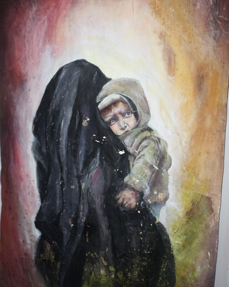 Oaklands College student Esther Harbord came in first place for her piece 'Refugees Welcome' at the
