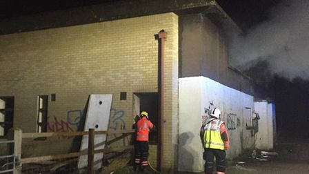 Firefighters arrived to find the building on fire in Upwood