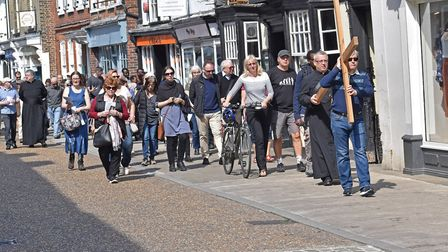 The Walk of Witness service saw hundreds of people join a procession through St Ives. Pictures: CONT