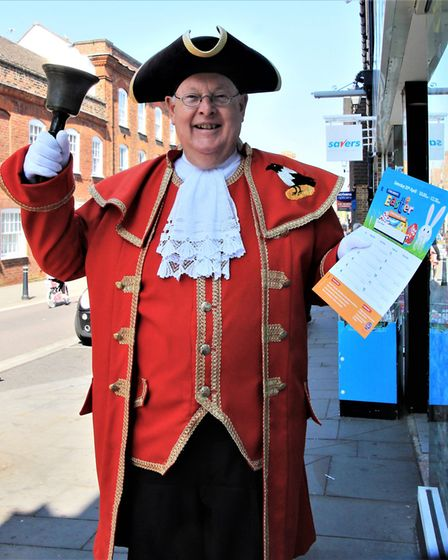Town Crier Graham Pfaff heralding the start of the Royston Easter egg hunt.Picture: Clive Porter