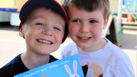 Oscar Rogerson and Odin Wagstaff took part in the Easter trail in Royston. Picture: Clive Porter