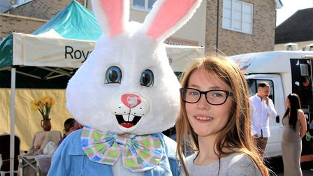 Lucy Randall with the Easter bunny. Picture: Clive Porter