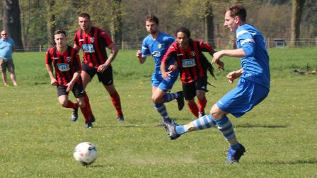 James Elliott of Skew Bridge Rothamsted fires home a penalty. Picture: BRIAN HUBBALL