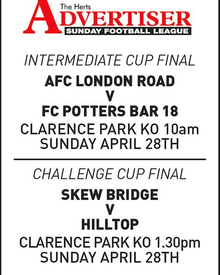 Poster advertising the next round of 2019 Herts Advertiser Sunday League cup finals.