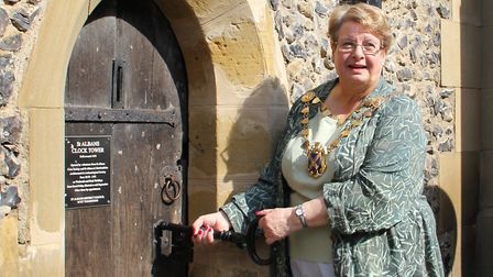 Mayor of St Albans Cllr Rosemary Farmer officially opened the Clock Tower on Good Friday. Picture: S