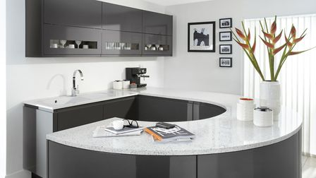 Burbidge Malmo kitchen in gloss graphite and gloss porcelain, www.burbidge.co.uk from £12,000. Pictu