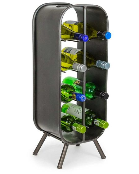 Hurn And Hurn Discoveries - Camden Freestanding Industrial Metal 8 Wine Bottle Holder. www.hurnandhu