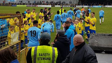 St Albans City formed a guard of honour for champions Torquay United prior to their National League