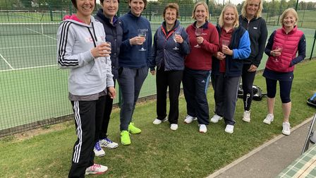 Royston Tennis Club's first team (Debbie Dunford, Claire Crafter, Pru Burton and Helen Carnaghan) to