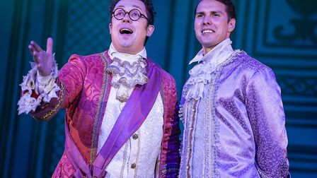 Bob Golding as Dandini and Kane Oliver Parry as Prince Charming in pantomime Cinderella at The Alban