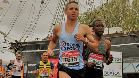 Michael Taylor passing Cutty Sark during his fine London Marathon performance. Picture: SUBMITTED