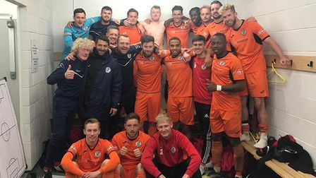 St Ives Town are all smiles following their win at Coalville last Saturday. Picture: SUBMITTED