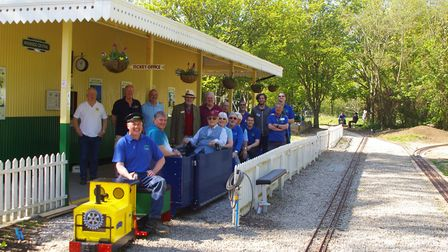 Several members of the St Neots St Marys and St Neots Rotary Clubs who donated the carriage with the