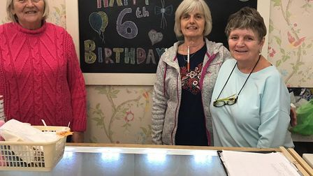Volunteers L-R - Liz Chatell, Rosemary Jubb and Rose Jones at the shop