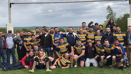 St Albans Rugby Club's second team celebrate their Herts Middlesex Merit Table Division Four North E