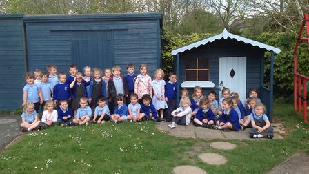 Icknield Walk First School's nursery children with the painted sheds. Picture: Icknield Walk First S
