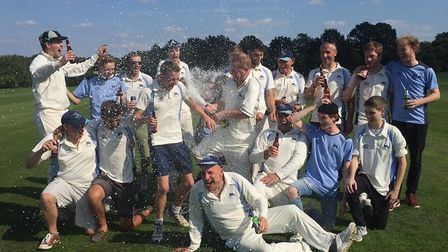 Harpenden Dolphins Cricket Club celebrate their promotion in 2018.
