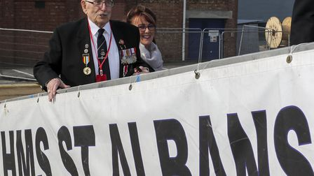 Leonard Williams, 93, boarding HMS St Albans with his daughter Lorraine Beynon ahead of the D-Day 75