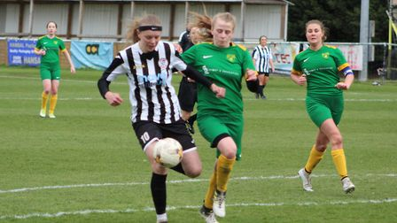 Emily Smith prepares to strike the only goal as St Ives Town Ladies beat Newmarket. Picture: GARY RE