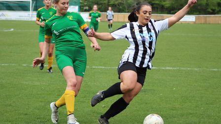 Elle Jefferson on the ball during St Ives Town Ladies' victory against Newmarket. Picture: GARY REED