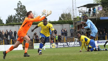 Solomon Sambou is beaten to the ball. Picture: JIM STANDEN