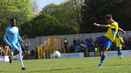 Liam Sole has a shot for St Albans City against Torquay United in the National League South at Clare