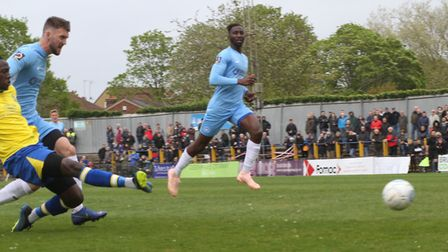 David Moyo sees his first-half effort saved by Shaun MacDonald. Picture: JIM STANDEN