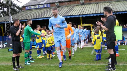 St Albans City formed a guard of honour onto the pitch for National League South champions Torquay U